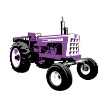 Purple Tractor. Farm Machine. Retro Machine. Stock Vector Illustration.