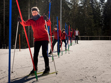Participants Learning Cross Country Skiing Course, Black-Forest, Baden-Württemberg, Germany