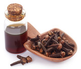 Fresh clove with oil in a jar - 264157255