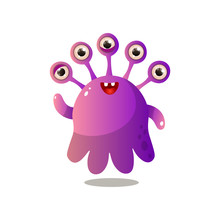 Cute Purple Monster With Five ...