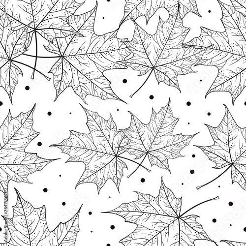 black-and-white-maple-leaves-vector-seamless-pattern