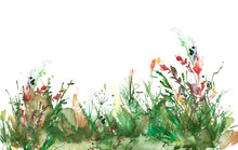 Watercolor Illustration. Background With Vintage Floral Pattern - Grass, Wild Plants Of Green, Yellow Color. Watercolor Card, Postcard, Invitation. Green Watercolor Natural. Landscape - Blooming Field