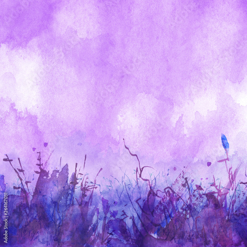 Printed kitchen splashbacks Purple Watercolor red, purple, pink background, blot, blob, splash of purple, pink paint. Watercolor spot, abstraction. Abstract art illustration, scenic. Silhouette of grass, wild plants, bushes. Dawn.