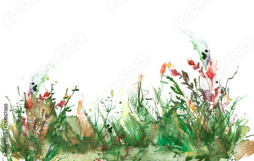 Deurstickers Olijf Watercolor illustration. background with vintage floral pattern - grass, wild plants of green, yellow color. Watercolor card, postcard, invitation. green watercolor natural. Landscape - blooming field
