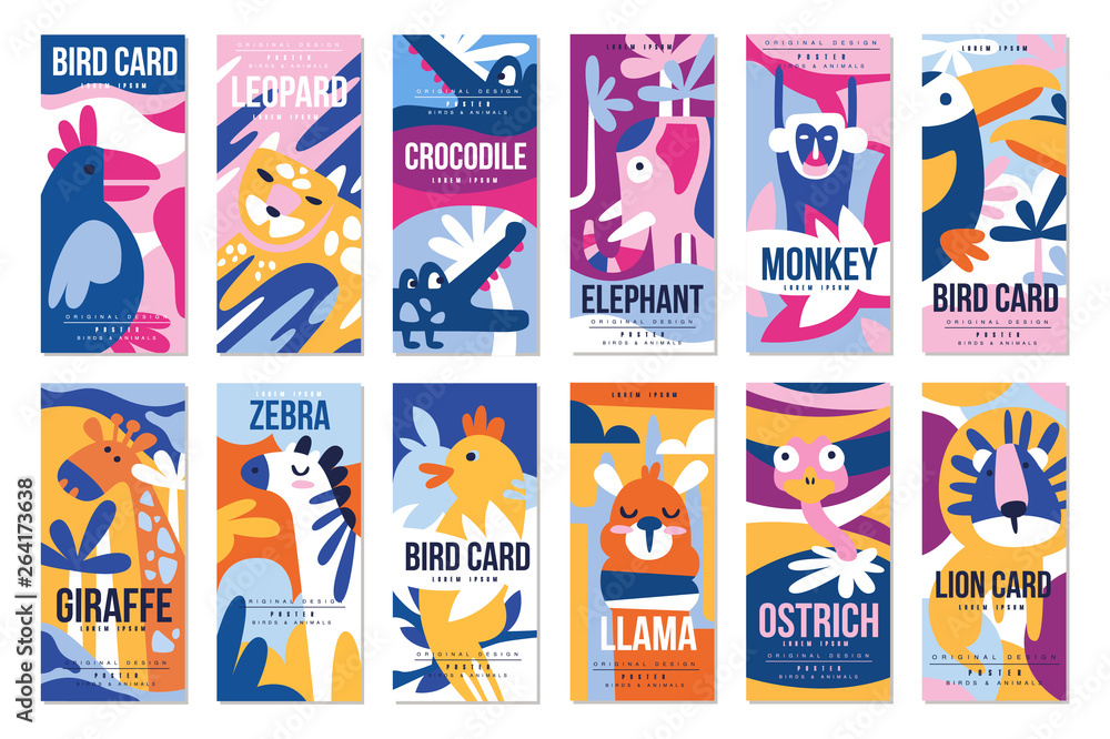 Fototapeta Birds and animals poster set, design element with peacock, flamingo, bull, giraffe, zebra, leopard, crocodile can be used for banner, greeting card, birthday party, invitation vector Illustration