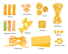 Macaroni Types Set. Collection...