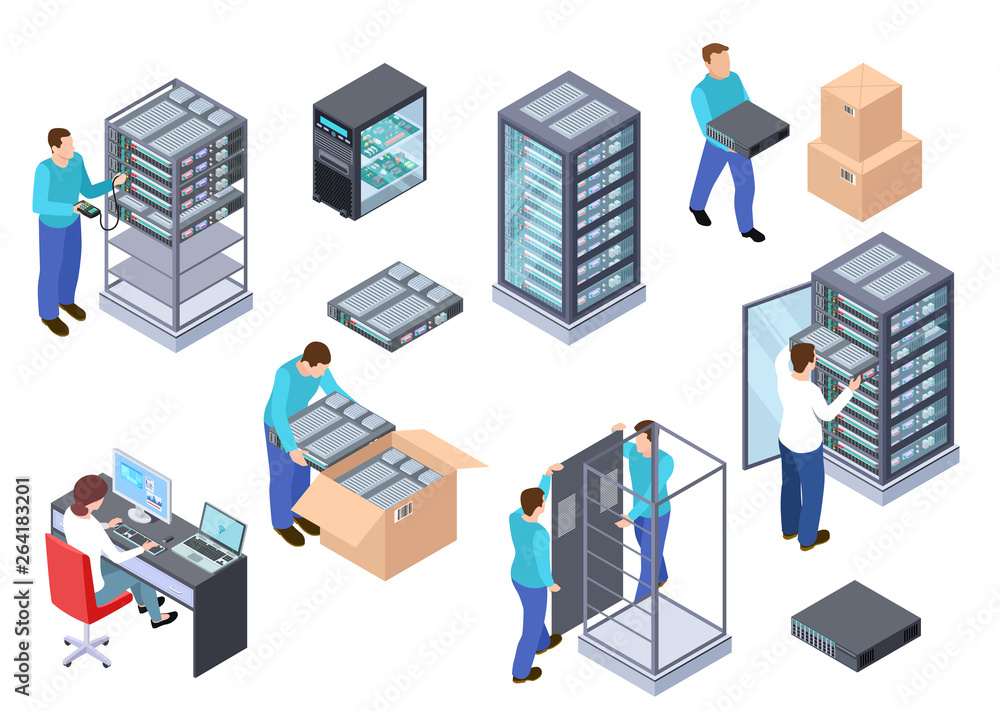 Fototapeta Server room isometric. Information technology server engineer, telecommunication cloud servers, computers and employees vector 3d set. Illustration of room server center, hardware cloud database