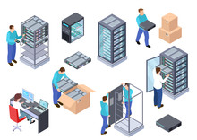 Server Room Isometric. Informa...