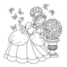 Beautiful Princess Sniffs A Rose Flower And Butterflies Flutter Around Outlined For Coloring Book Isolated On White Background