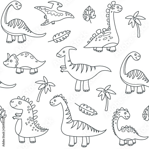 Dinosaur outline seamless pattern. Cute baby dino funny brontosaurus monsters jurassic animals dragon dinosaurs vector kids textile. Illustration of outline pattern dinosaur seamless, dino childish