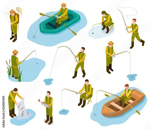 Obraz na plátne Fisherman isometric