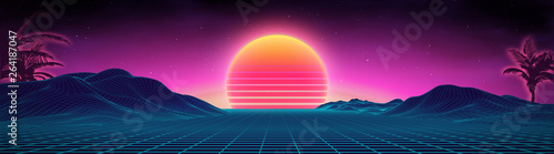 Foto auf Leinwand Blaue Nacht Retro background futuristic landscape 1980s style. Digital retro landscape cyber surface. 80s party background . Retro 80s fashion Sci-Fi Background Summer Landscape.