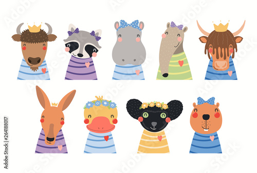 Photo Stands Illustrations Big set of cute animals in t-shirts, crowns, ribbons, flower wrethes. Isolated objects on white background. Hand drawn vector illustration. Scandinavian style flat design. Concept for children print.