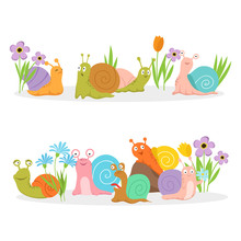 Group Of Cartoon Character Snails With Flowers. Vector Creature Cochlea In Grass And Bright Flowers Illustration