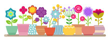Spring And Summer Flowers In The Pots - Vector House Plants Illustration. Flower Pot, House Botanical Plant, Bloom Flowers Potted