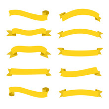 Set Of Yellow Ribbons Banners. Flat Design. Yellow Tapes. Vector Illustration. - Vector