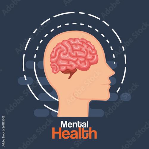 silhouette man head with health brain Wall mural