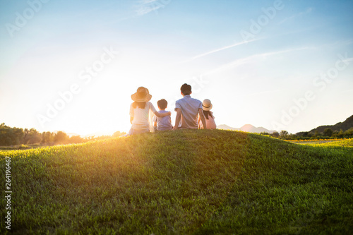 Happy young family sitting on meadow - 264196467