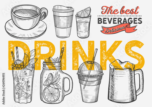 Canvas-taulu Drink illustration - coffee, mojito, smoothie, beer, cocktail