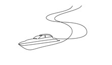 Continuous Line Drawing From The Boat Traveling At High Speed In The Waters. Concept Of Traveling By Yacht. Yacht Go Isolated With White Backgrounds