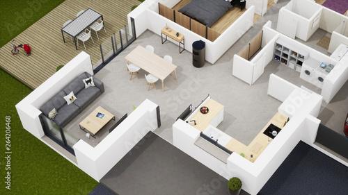 Fotografiet  Plan 3d maison de lotissement 02