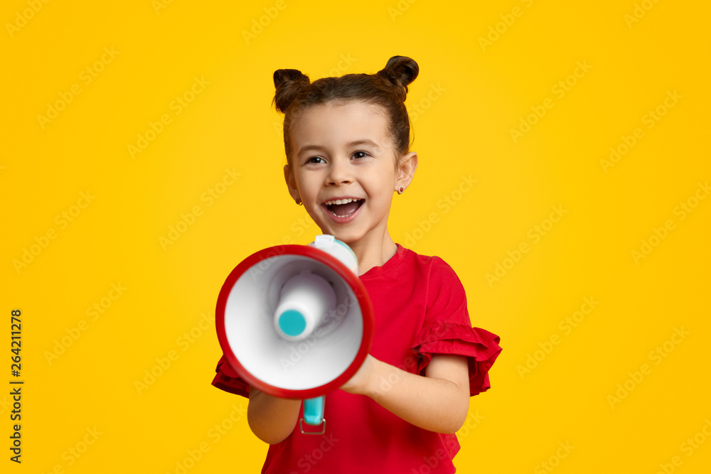 Fototapety, obrazy: Cheerful girl with speaker