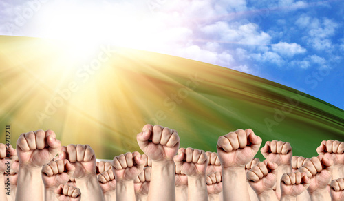 Labor Day concept with fists of men against the background of the flag of Cheche Wallpaper Mural