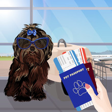 Airport Waiting Room, Dog In The Foreground. Terminal Interior, Panoramic Window, Airplane. Time To Travel. Travel Concept, Vector Illustration.
