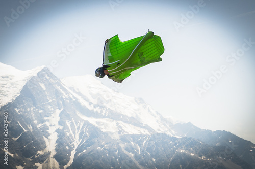 a wingsuit jumper in Brevent, Auvergne-Rhône-Alpes, Chamonix, France Wallpaper Mural