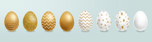 Easter Painted Golden Eggs Vec...