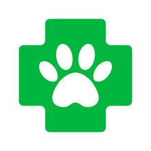 Green Cross With Paw Veterinar...