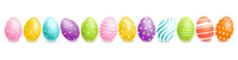 Colorful Easter Eggs Set Vector Realistic. Spring Holiday Banner. 3d Detailed Poster Templates