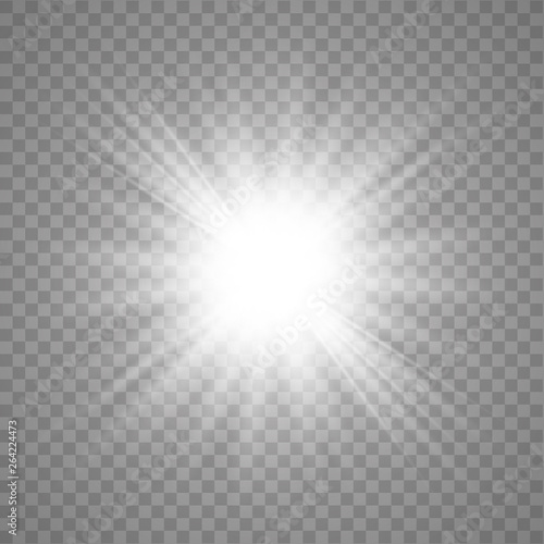 Fototapeta White shining vector sun obraz na płótnie