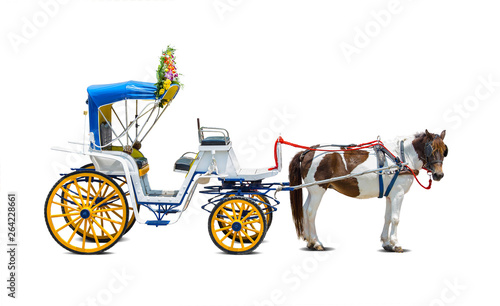 Foto Horse carriages for tourist services in Lam-pang Thailand.