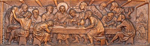 TAORMINA, ITALY - APRIL 9, 2018: The bronze relief of Last Supper in church Chiesa di Santa Caterina d'Alessandria by L. Feretti (1965).