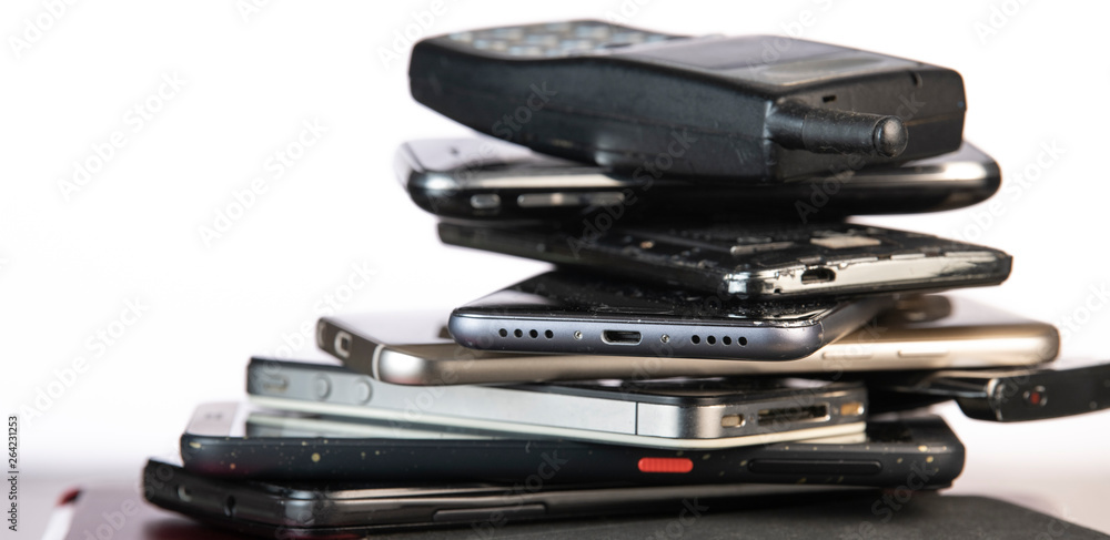 Fototapety, obrazy: Outdated models of mobile phones and smartphones