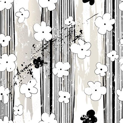 abstract background pattern, with stripes, paint strokes, splashes and little flowers, seamless, black and white