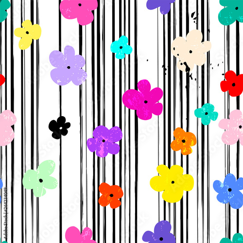 abstract background pattern, with stripes, paint strokes, splashes and little flowers, seamless
