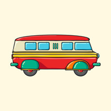 Retro Minivan Hand Drawn Pop Art Style Illustration.