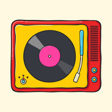 Retro Portable Turntable Hand Drawn Pop Art Style Illustration.