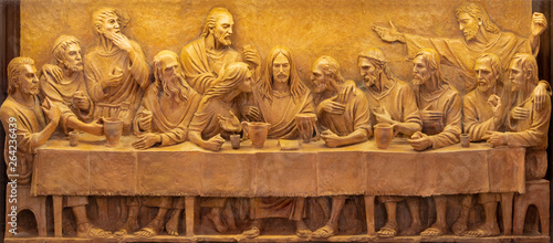 TAORMINA, ITALY - APRIL 9, 2018: The terracotta relief of Last Supper in Duomo (San Pancrazio) by Turi Azzolina (2014).