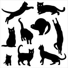 Cats Silhouette Vector Set Bla...