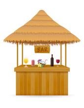 Beach Stall Bar For Summer Holidays On Resort In The Tropics Vector Illustration
