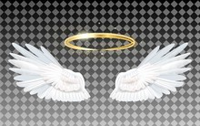 Angel Wings Icon With Nimbus