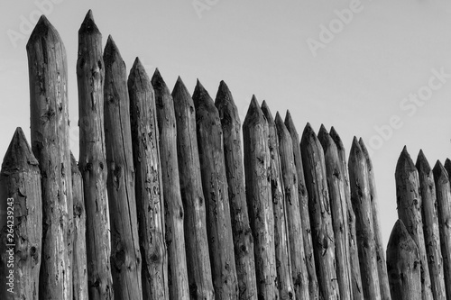 Photo  Palisade of logs, a fence of wooden bars.