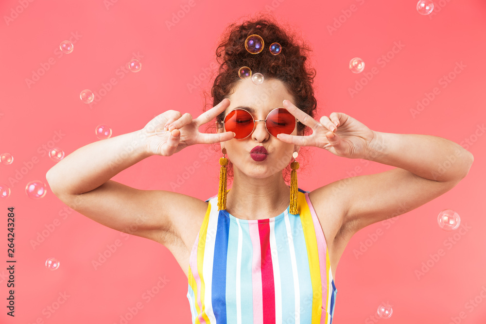 Fototapety, obrazy: Playful pretty redhead woman wearing in dress and sunglasses