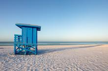 Blue Lifeguard Tower On A Morning Beach