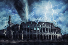 Colloseum In Rome Street During The Heavy Storm, Rain And Lighting In Italy, Creative Picture.