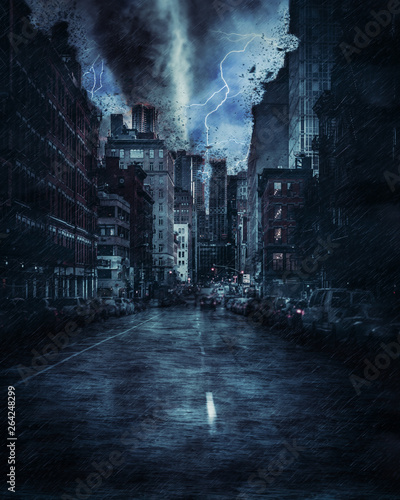 Stickers pour portes New York New york street during the heavy tornado storm, rain and lighting in New York, creative picture.