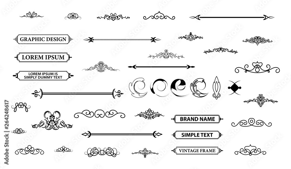 Fototapety, obrazy: Vintage set decor elements. Decoration for logo